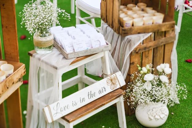 Rustic wedding outdoor photo zone