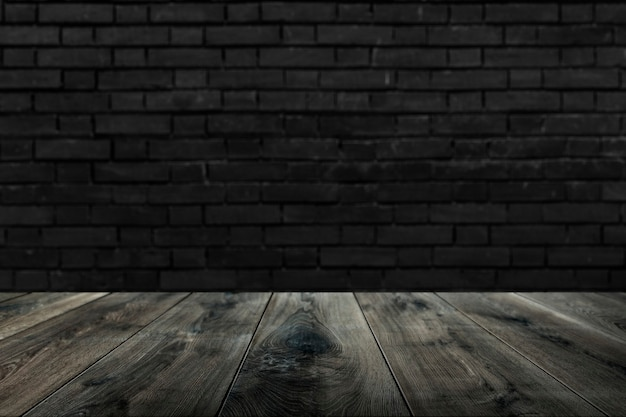 Rustic wooden plank with brick wall