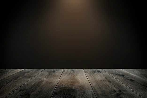 Rustic wooden plank with dark brown background