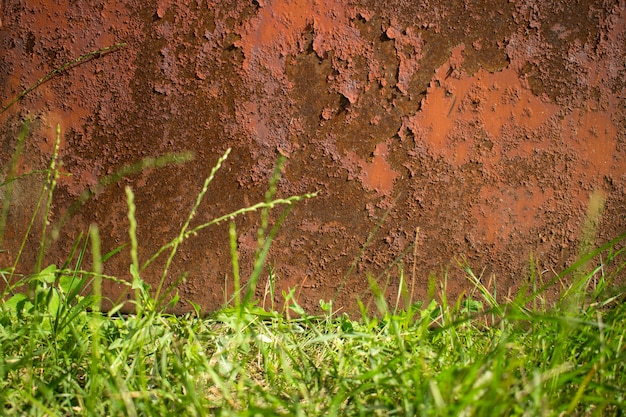 Rusty brown old metal background and a lower border of green grass. corrosion texture