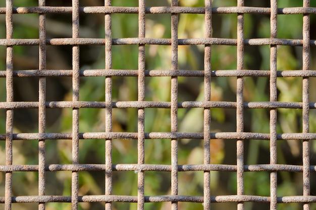 Ржавая клетка крупным планом. зеленый фон