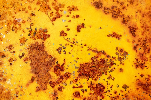 Rusty metal plate or old metal, yellow steel metal rust surface texture for background