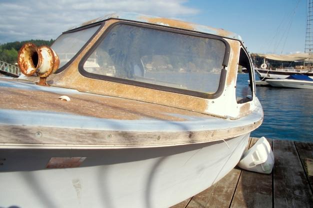 Rusty powerboat