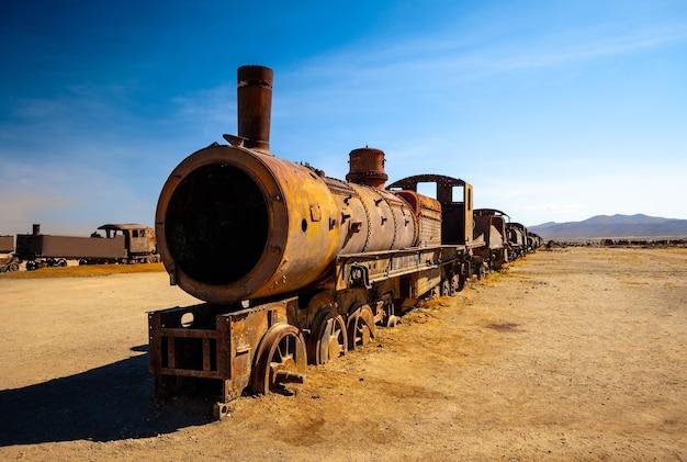 Rusty steam locomotives in bolivia