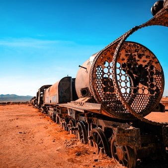 Rusty steam locomotives in bolivia