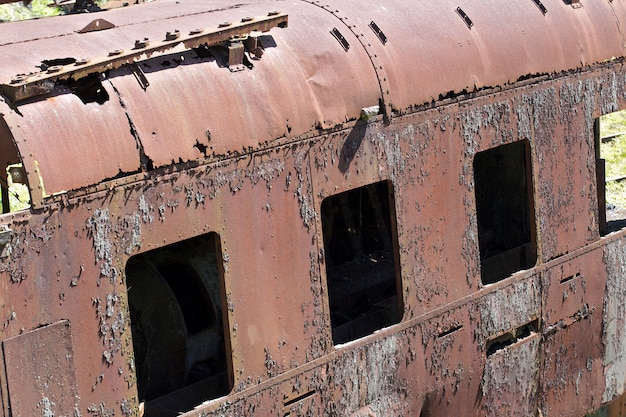 Rusty structure of old train wagon