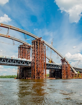 Rusty unfinished bridge in kiev, ukraine panorama