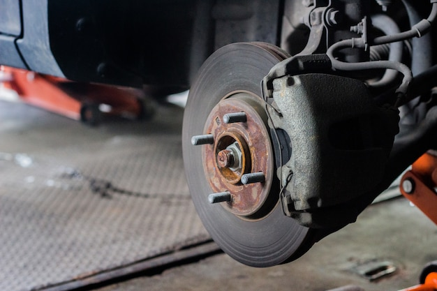 Rusty wheel in changing tire service.