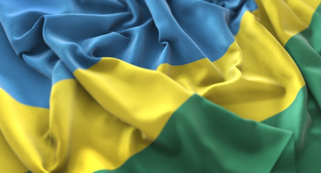 Bandiera del ruanda ruffled splendamente sventolando macro close-up shot