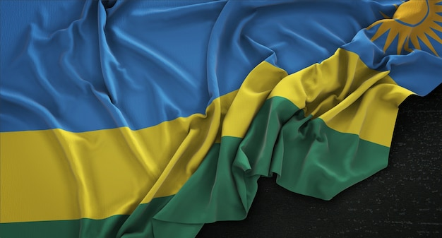 Bandiera del ruanda rugosa su sfondo scuro 3d rendering