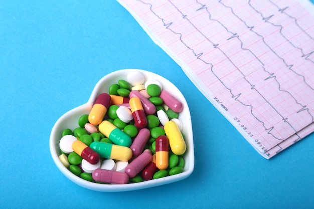 Rx prescriptionnd colorful assortment pills and capsules on plate.