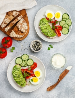 Rye bread sandwiches with  avocado