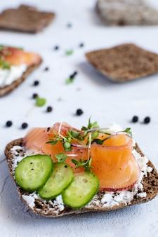 Rye bread, smoked salmon, cucumber and microgreens