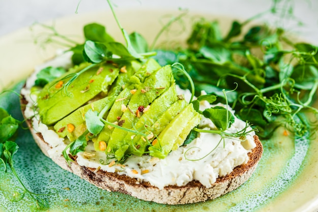 Rye bread toast with cream cheese and avocado on beautiful plate