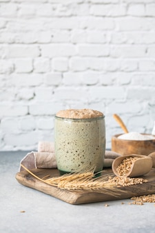 The rye leaven for bread is active starter sourdough  fermented mixture of water and flour to use as leaven for bread baking the concept of a healthy diet