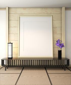 Рамка плаката на интерьере комнаты ryokan. 3d рендеринг