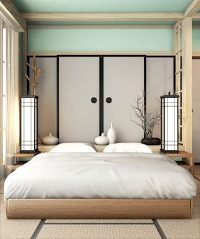 Ryokan light blue bed room very japanese style with tatami mat floor and decoration. 3d rendering