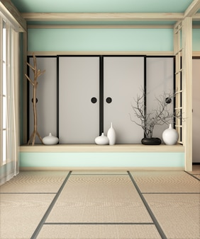 Ryokan light blue room empty zen very japanese style with tatami mat floor. 3d rendering