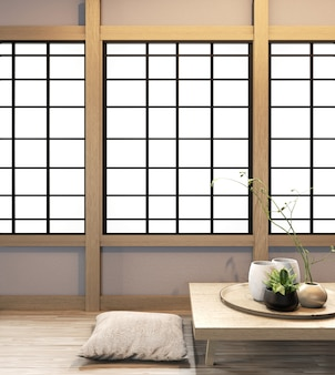 Ryokan living room japanese style on wall wooden decoraion.3d rendering