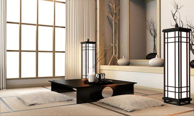 Ryokan living room japanese style with tatami mat floor and decoration. 3d rendering