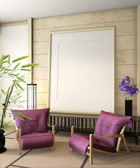 Ryokan poster frame with armchair and decoration on tatami mat floor. 3d rendering
