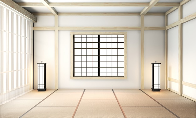 Ryokan room empty zen very japanese style with tatami mat floor. 3d rendering