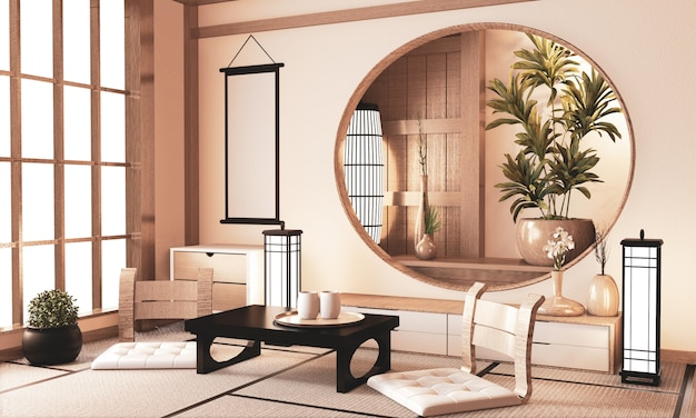 Ryokan very zen room with wall wooden shelf  and tatami floor, room earth tone.3d rendering