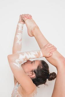 Rythmic gymnast posing