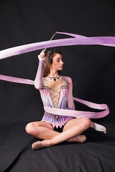 Rythmic gymnast with ribbon