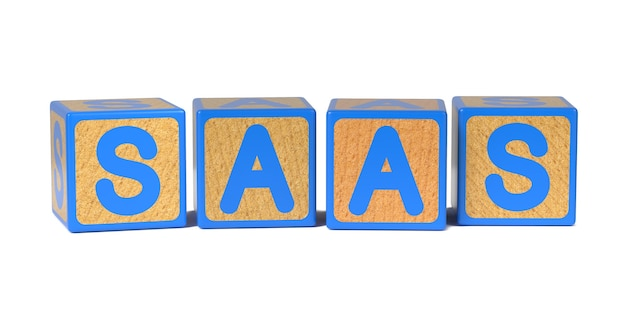 Saas on colored wooden childrens alphabet block isolated on white.
