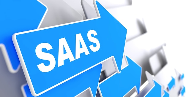 Saas. information technology concept. blue arrow with