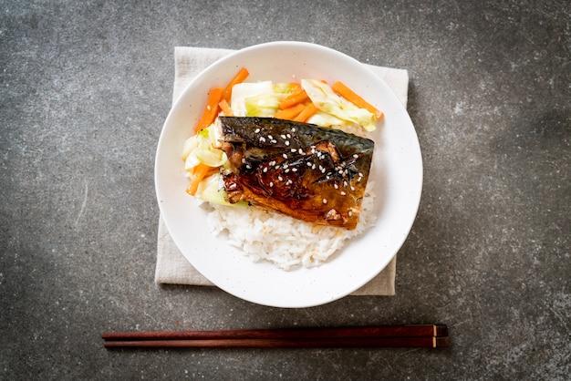 Saba fish grilled with teriyaki sauce on topped rice bowl
