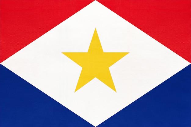 Saba island national fabric flag textile background. symbol of international world country.