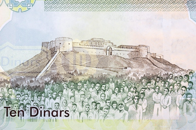Sabha fortress and people from old libyan money