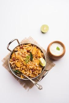 Sabudana khichdiã'â/ khichadi is an indian fasting recipe or vrat food consumed during navratri, ekadashi or ganesh chaturthi