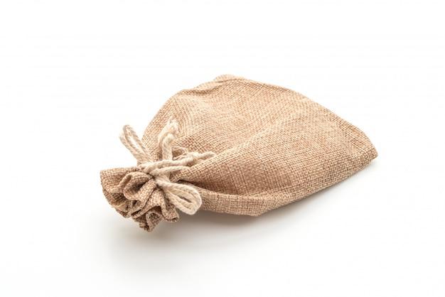 Sack fabric bag on white
