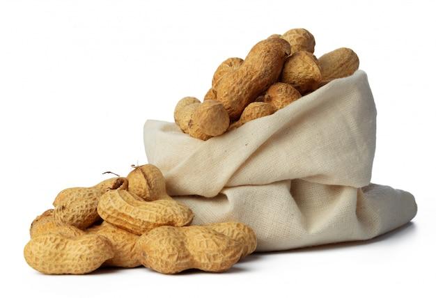 Sack of peanuts isolated