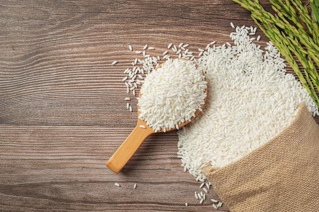 Sacco di riso con riso sul cucchiaio di legno e pianta di riso