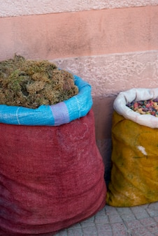 Sacks of food for sale at market stall, medina, marrakesh, morocco
