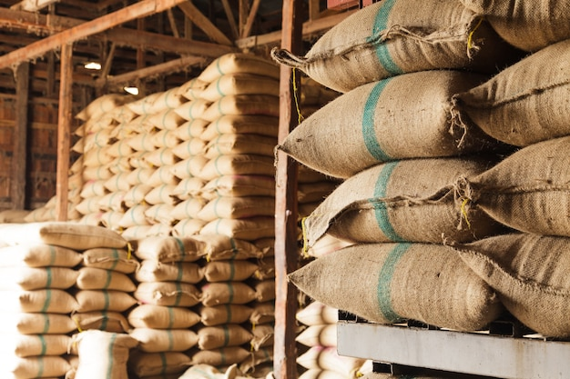 Sacks of rice in the warehouse