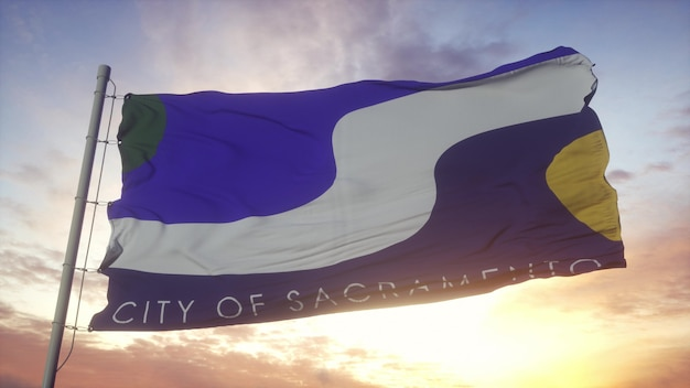 Sacramento city flag waving in the wind, sky and sun background. 3d rendering