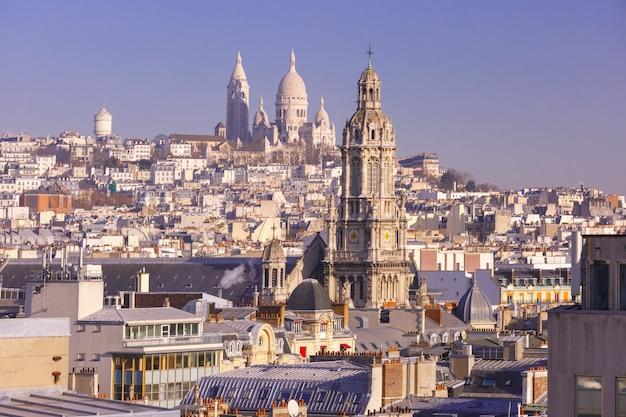 Базилика сакре-кер утром, париж, франция