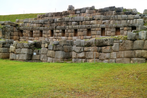 Sacsayhuaman, the ancient citadel of the inca on the mountain top of cusco city, peru