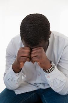 Sad afro-american rehab patient
