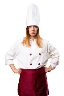 Sad beautiful chef woman