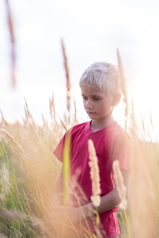 Sad child in a red t-shirt in a field with ears of grass. the boy tilted his head with a sad look. concept of resentment and raising children.