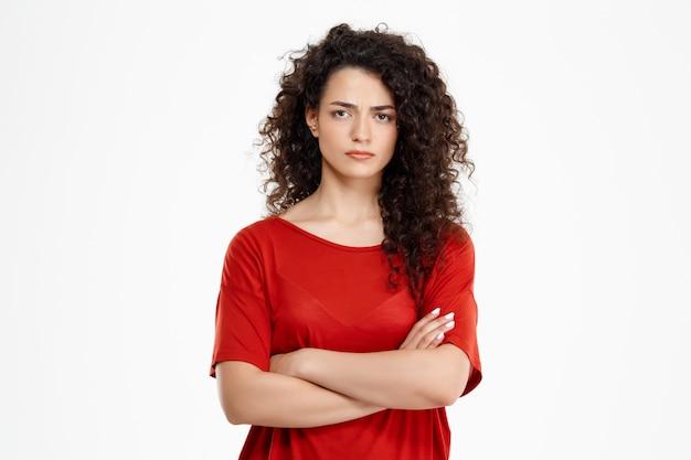 Sad curly girl