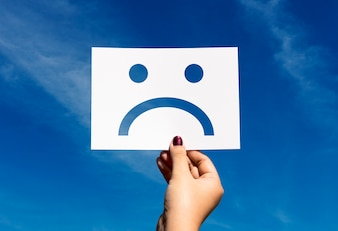 Sad depressed fail down perforated paper