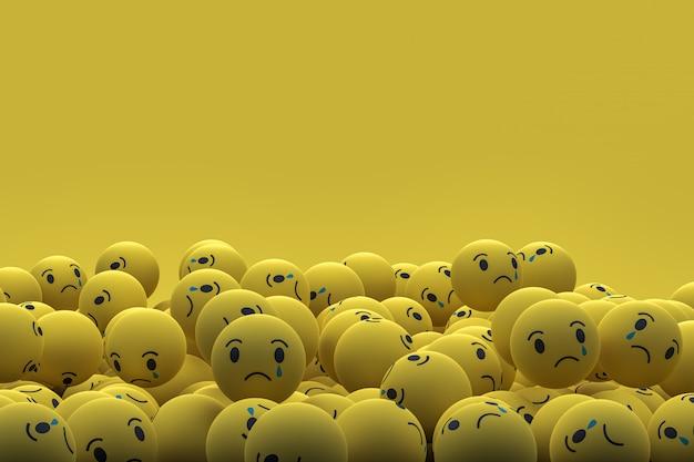 悲しいfacebookソーシャルメディア絵文字3 dレンダリングの背景、ソーシャルメディアのバルーンシンボル