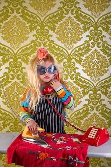 Sad housewife kid girl iron chores retro